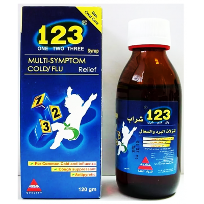 1 , 2 , 3 one two three ( paracetamol + chlopheniramine maleate + pseudoephedrine ) syrup 120 gm