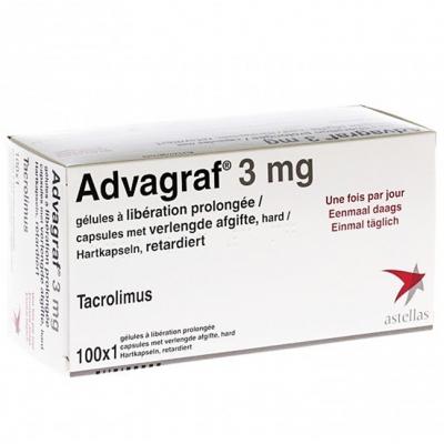 Advagraf 3 mg ( tacrolimus ) 100 prolonged-release hard capsules