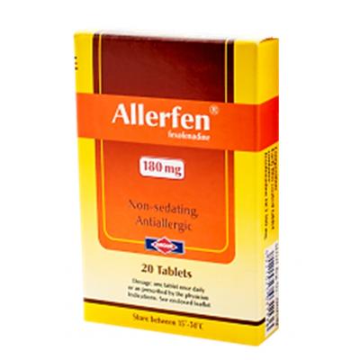 Allerfen 180 mg ( Fexofenadine ) 20 film- coated tablets
