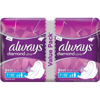 Always Diamond Ultra Extra Long 14 Pads  value pack