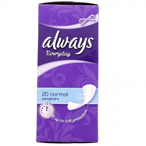 always everyday normal 20 pantyliners  up to 12 hours protection
