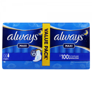 always night maxi thick 16 pads  value pack  longer for all nights protection
