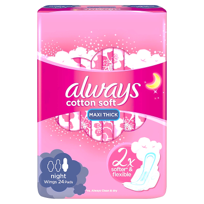 always cotton soft maxi thick night 24 pads  2X softer & flexible