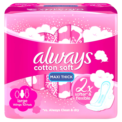always cotton soft maxi thick large 10 pads  2X softer & flexible