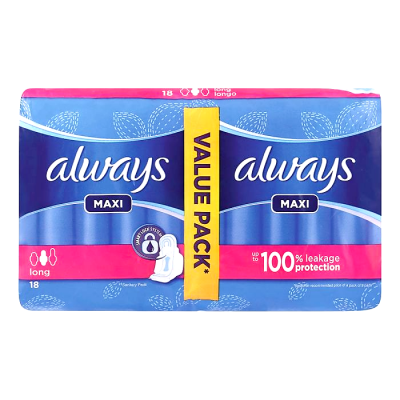 always maxi long 18 pads  value pack  up to 100% leakage protection