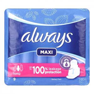 always maxi long 9 pads  up to 100% leakage protection