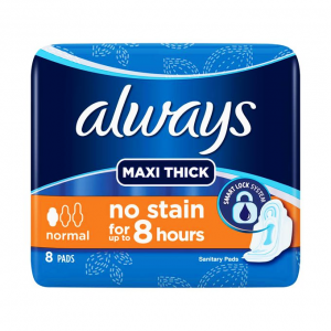 always maxi thick normal 8 pads  no stain for up to 8  hours