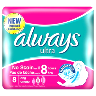 always ultra long 8 pads  no stain for up to 8 hours