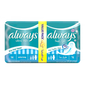 always ultra thin extra long 14  pads  value pack  dry top-layer
