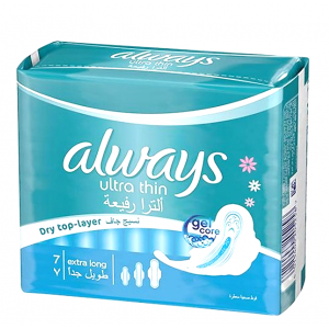 always ultra thin extra long 7  pads  dry top-layer