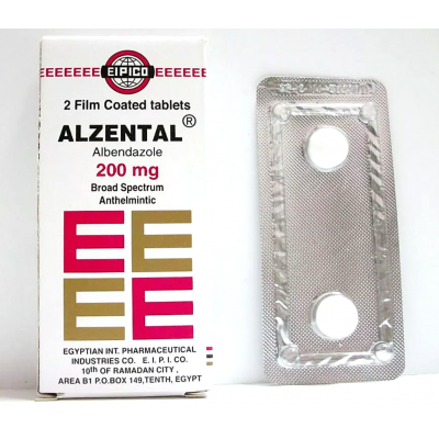 Alzental 200 mg ( Albendazole ) 6 film-coated tablets