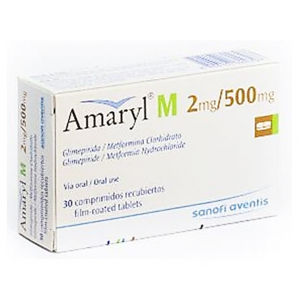 Amaryl M 2 / 500 mg ( Glimepiride + Metformin ) 30 film-coated tablets