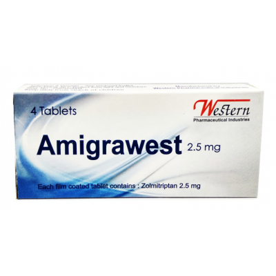 Amigrawest 2.5 mg ( Zolmitriptan ) 4 film-coated tablets