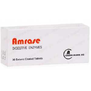 Amrase ( Ox Bile + Pancreatin + Papain )  30 enteric-coated tablets