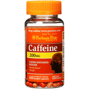 Caffeine 200 mg 8 hour sustained releas Puritan's Pride  Mental Focus Energy  60 capsules