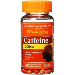 Caffeine 200 mg 8 hour sustained releas Puritan's Pride  Mental Focus Energy  60 capsules