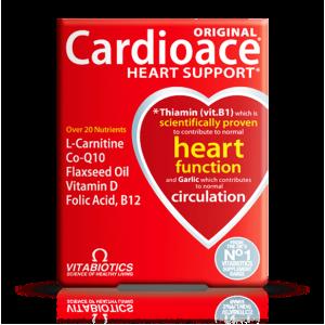 Cardioace Original Vitabiotics  Heart Support  Over 20 Nutrients  ( L - Carnitine + Co - Q 10 + Flaxseed Oil + Vitamin D + Folic Acid + B 12 )  30 Tablets
