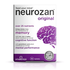 Neurozan Original Vitabiotics  Feed Your Mind  Over 25 Nutrients  ( Ginkgo Biloba + Iron + Zinc + Iodine + Pantothenic Acid ) 30 tablets