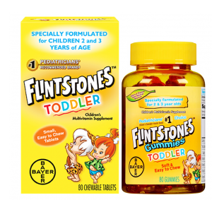 FLINTSTONES ™ TODDLER CHEWABLES MULTIVITAMIN Specially Formulated For Children 2 & 3 years Of Age 80 Chewable Tablets