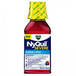 NYQUIL ™ SEVERE VICKS COLD & FLU RELIEF LIQUID ( ACETAMINOPHEN 650 MG + DEXTROMETHORPHAN 20 MG + DOXYLAMINE SUCCINATE 12.5 MG ) 354 ML