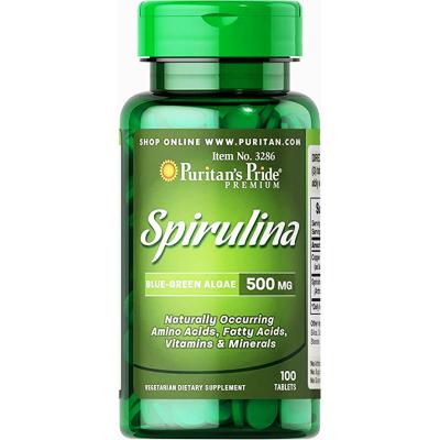 spirulina Blue - Green algae 500 mg ( Spirulina + Sodium Copper ) 100 tablets