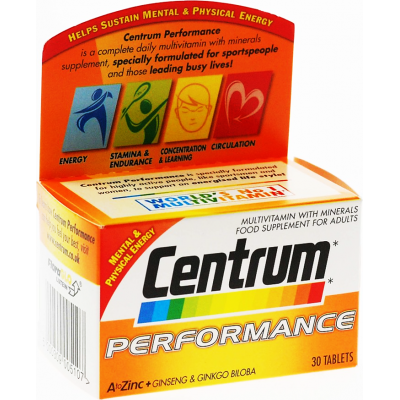 Centrum Performance With Ginseng & Ginkgo Biloba Multivitamin Multimineral Food Supplement 30 Tablets
