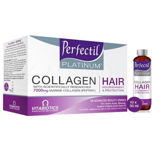 Perfectil Platinum Collagen Hair Drink Marine Collagen 7000 mg with keratin + Inositol + Blackcurrant Seed Oil 10 Advanced 50 mL Beauty Drinks
