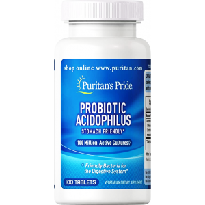 Probiotic Acidophilus 100 Million Active Cultures Stomach Friendly Puritan's pride 100 tablets