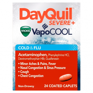 DAYQUIL SEVERE VAPOCOOL DAYTIME VICKS COUGH , COLD & FLU RELIEF CAPLETS 24 caplets