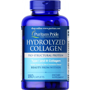 Hydrolyzed Collagen 1000 mg Type 1 and 3 Collagen Puritan's Pride Beauty from Within 180 caplets