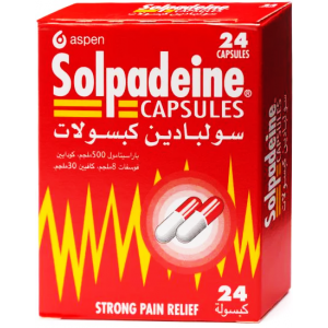 Solpadeine Capsules Strong Pain Releif ( Paracetamol 500 mg + Codeine 8 mg + Caffeine 30 mg ) 24 capsules
