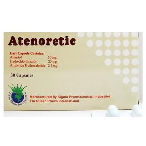 Atenoretic ( Atenolol 50 mg + Hydrochlorothiazide 25 mg + Amiloride Hydrochloride 2.5 mg ) 30 capsules
