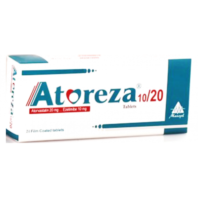 Atoreza 10 / 20 mg ( Ezetimibe 10 mg  / Atorvastatin 20 mg ) 21 film-coated Tablets