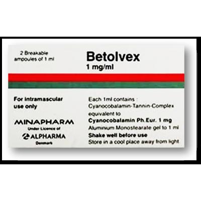 Betolvex ® 1 mg / ml ( Cyanocobalamin ) 2 intramascular ampoules