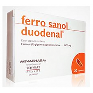 Ferro sanol duodenal ® ( Ferrous glycine sulphate 567 mg equivqlent to 100 mg elemental iron ) 30 Capsules