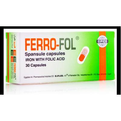 Ferrofol ( Dried ferrous sulphate 150 mg + Equivalent to Iron 47 mg + Folic acid 0.5 mg ) 30 capsules