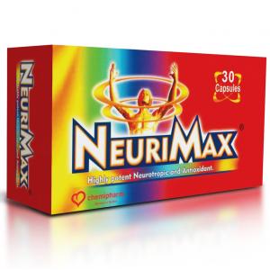 Neurimax ( Vitamins B1 250 mg + B2 15 mg + B6 100 mg + B12 250 mcg + Vit. C 100 mg + Vit E 30 mg + Zinc 10 mg + Selenium 25 mcg + Folic acid 250 mcg + Betacarotene plamitate 5000 IU ) 30 capsules