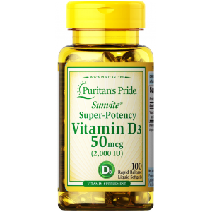 Vitamin D3 50 mcg Sunvit Super-Potency Puritan's Pride ( 2000 IU ) Supports Immune System & Healthy Bones & Teeth 100 softgels