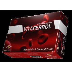 Vitaferrol ( Folic Acid 1 mg + Ferrous Fumerate 350 mg + Manganase 2.5 mg + Vitamin B 12 7.5 mcg + Vitamin C 150 mg + Zinc 7 mg ) 30 capsules