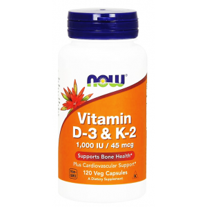 Vitamin D - 3 & K - 2 Supports Bone Heart & Immune System Health  NOW 120 Veg Capsules