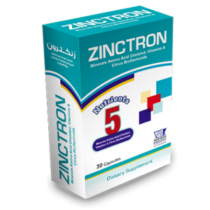 Zinctron ( Zinc 11 mg + Copper 0.9 mg + Calcium Ascorbate 107 mg + Vitamin B6 1.625 mg + Citrus Bioflavonoids 150 mg ) 30 capsules