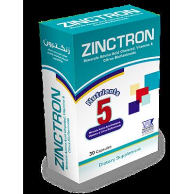 Zinctron ( Zinc 11 mg + Copper 0.9 mg + Calcium Ascorbate 107 mg + Vitamin B6 1.625 mg + Citrus Bioflavonoids 150 mg ) 30 capsules