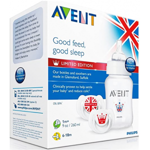 Avent Philips Royal Gift Set SCD683 1 Classic 9 oz feeding bottle + 2 white classic soothers 6-18m