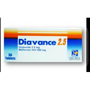 Diavance 2.5 / 500 mg ( Glyburide / Meformin ) 30 film-coated tablets