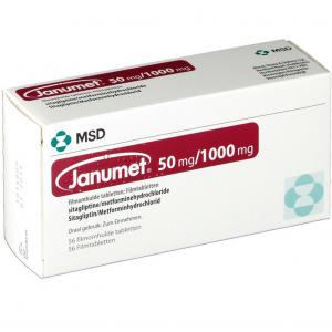 Janumet ® 50 mg /1000 mg ( sitagliptin phosphate monohydrate / metformin hydrochloride ) 56 film-coated tablets