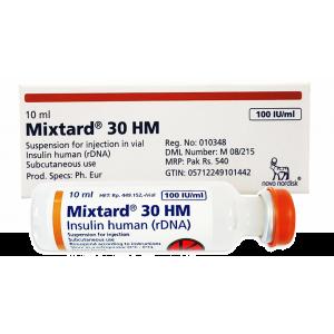Mixtard ® 30 100 IU / ml ( Insulin human ( rDNA ) + Insulin Protophane Protamine ) 10 ml vial