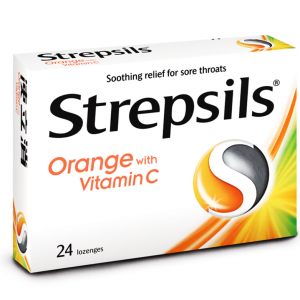 Strepsils Orange with Vitamin C ( 1.2 mg Dichlorobenzyl Alcohol / 600 mcg Amylmetacresol / 100 mg Ascorbic Acid ) 24 lozenges
