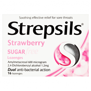 Strepsils Sugar Free Strawberry ( Dichlorobenzyl alcohol 1.2 mg and Amylmetacresol 600 µg ) 16 lozenges