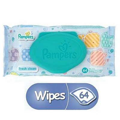 Pampers Fresh Clean Baby Wipes - 64 Pcs